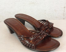 NOS 80s Bass Sandals Chestnut Brown Leather Ladies US Size 7 1/2  Vintage New Slides 2 1/2 Inche Wood Stacked Heels Retro Summer Sandals