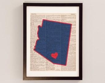 Arizona Wildcats Dictionary Art Print - Tuscon Art - Print on Vintage Dictionary Paper - I Heart Tuscon - Arizona Outline - Go Zona!