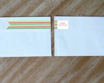Wraparound Return Address Labels Holiday Address Stickers Personalized Chevron Labels Christmas Wrap Around Address Label