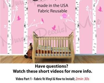 Girl Nursery Birch Tree Wall Decals, Reusable, Easier to Install, Birch Tree Wall Stickers   NBT