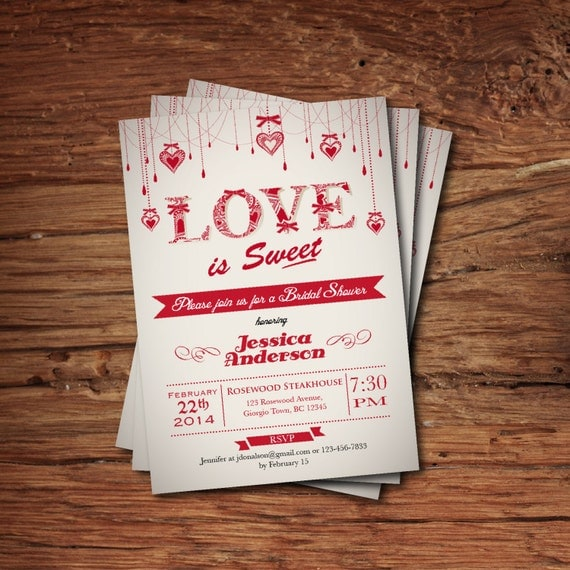 Printable Valentine Bridal Shower Invitation. Valentines Party Invite. Love is Sweet wedding shower, couples shower, engagement party. V04