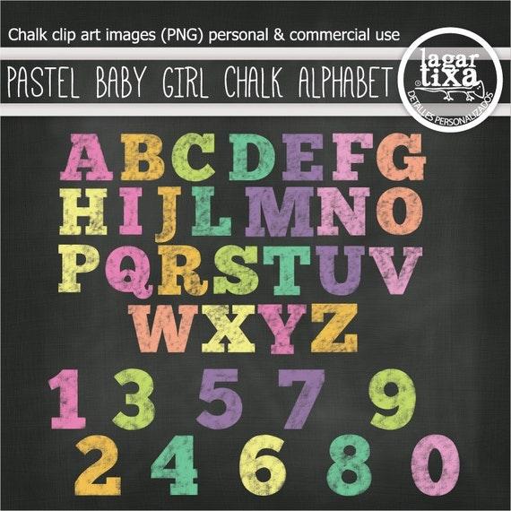 Chalk Girly Alphabet letters Chalkboard Clip art & Digital