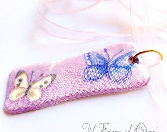 Butterflies of Provence - Necklace with rectangular découpaged pendant and pastel pink organza lace - delicate shabby chic butterflies