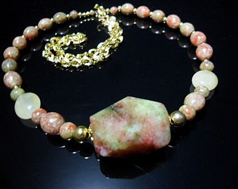 Autumn Jasper necklace with red and green Northern Jade pendant - goldtone copper chain - claspless necklace fits over head