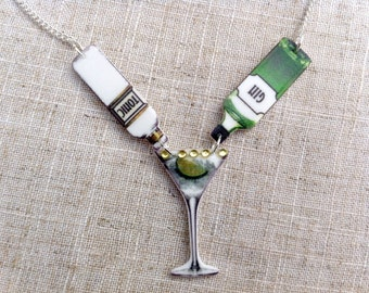 Gin and tonic - Gin necklace - Cocktail necklace - Gin lover - Quirky necklace - Statement necklace - Gin gift - Gin bottle
