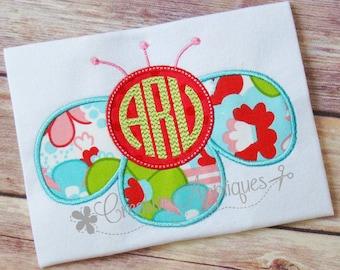 Monogram Flower Digital Machine Embroidery Applique Design 4 Sizes