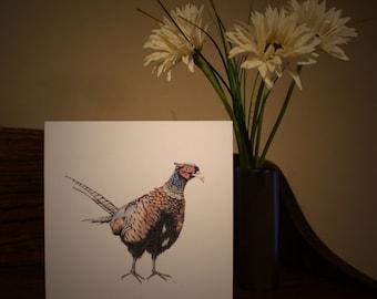 Pheasant  - original art blank card