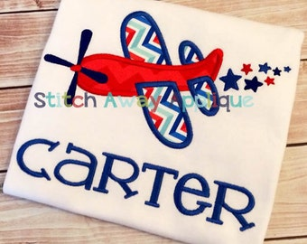 Patriotic 4th of July Airplane Machine Applique Design