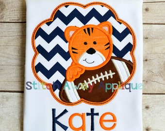 Tiger Football Scallop Machine Applique Design