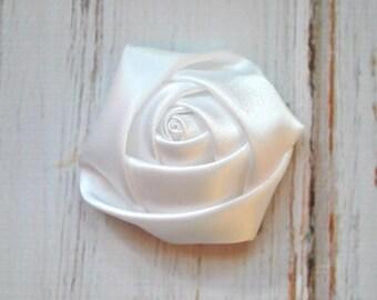 "4 pc White Satin Rose - 2"" inch size satin rose flowers - satin smooth rosette"