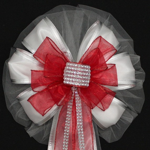 Red Bling Glitter White Wedding Pew Bows