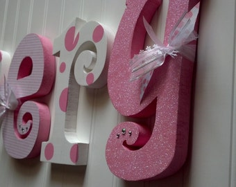 Nursery letters, Nursery wall hanging letters, Pink & White nursery decor, nursery wall letters