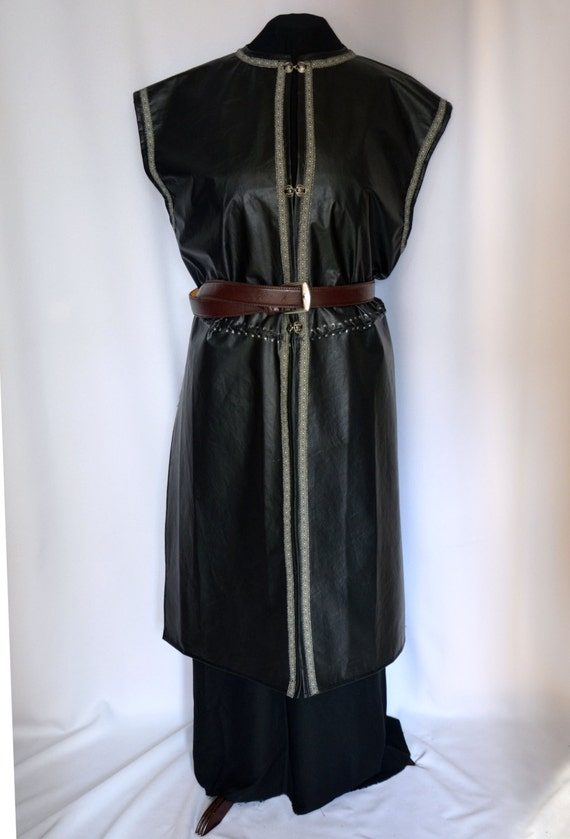 Faux leather surcoat over tunic for Medieval King Lord