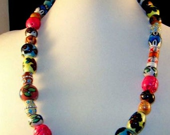 Hand Painted Vintage Wooden Statement Necklace. Colorful artisan necklace.