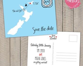 Destination Wedding - Save the Date Postcard - Travel Theme - Boat - Cruise - Custom Countries - Printable - DIY