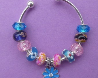 Clearance ~ Blue and Pink Flower  PAND*RA Style Bracelet