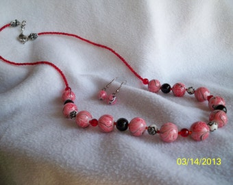 Multicolored Red Black & White Beaded Single Strand with Earrings