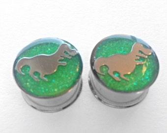 "Neon green glitter plugs with dino inserts 5/8"""