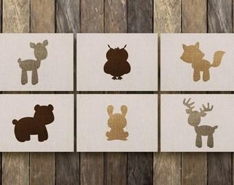 Baby Woodland Animals - Instant Download 5x7 Printables - Woodland Animals Nursery - Nursery Animal Printables - Woodland Animal Nursery Art