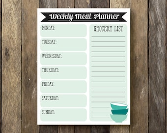 Printable Weekly Meal Planner - Instant Download - Meal Calendar - Weekly Meal Planner - Meal Plan Printable - Dry Erase Meal Planner