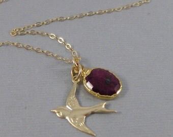 Rubies and Birdy,Genuine Ruby,Necklace,Ruby Necklace,Birtstone,Birthstone Necklace,Red,Ruby,July Birthstone,Red Stone,Bird,.SeaMaidenJewelry