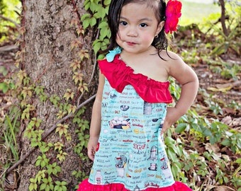 Victoria One Shoulder Pillowcase Dress sizes 3months to - 12 years Pdf Pattern  All Sizes Included