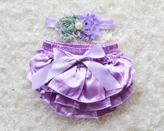 lavender baby Girl headband and Ruffle Bum Baby Bloomer, lavender Diaper Cover, Ruffle Bum, Newborn Headband Set - Photo Prop