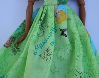 11.5 inch dolls clothes- tinkerbell barbie gown (009)