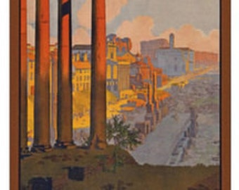 Vintage Rome Italy Travel from Paris Lyon Ad Art Poster Giclee Print Mounted Canvas Option