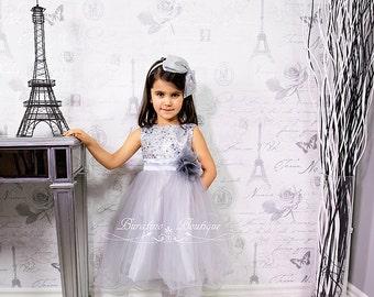 Silver Flower Girl Dress Silver Sequin Dress, Special Occasion dress, Wedding Dress Size 2T- 14 (ets0155sv)