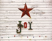 JOY! Art Print Gift Home Decor Barn Christmas Star Lights Holiday Seasonal Winter Red White Green Weathered Farm Photograph Paintography - AnneFreemanImages