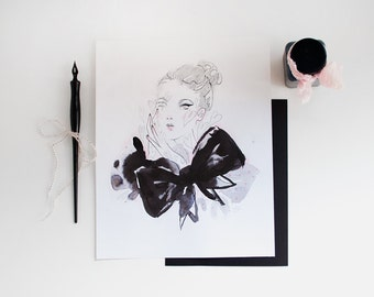 ORIGINAL 8x10 pencil and ink fashion illustration drawing - bow & hearts portrait