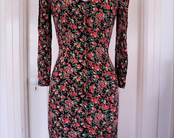 1990's Floral Jonathan Martin Button Front Dress / Size Extra Small-Small