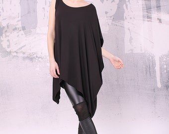 Asymmetrical black tunic top with one sleeve, loose tunic, tunic top - UM-023-VL