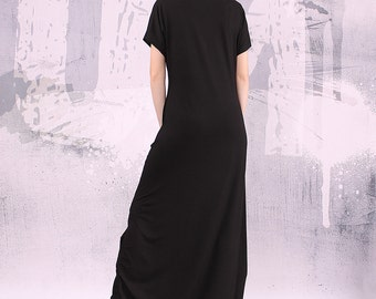 Black dress, loose long dress, long dress, maxi dress, black short sleeved dress - UM-037-VL