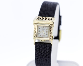 1950s 14K Gold LeCoultre Ladies Driver Wrist Watch