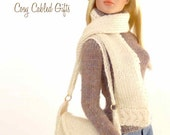 """Knitting pattern for 16"""" doll (Tyler Wentworth): Cosy Cabled Hat, Scarf & Bag"""