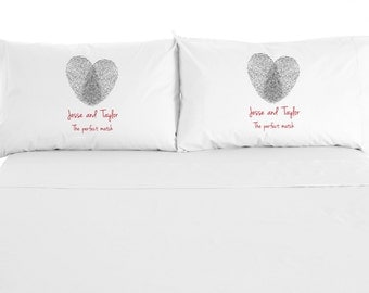 The Perfect Match, Fingerprint Heart, Custom Printed Valentine Pillowcase, Wedding Gift, Set of 2