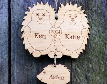 Baby's First Christmas Ornament Hedgehog Family: Personalized Ornament/Family Christmas Ornament/New Baby Gift/Wood/Engraved Keepsake