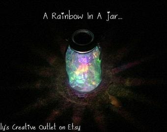 Mason Jar Solar Light - Fairy Lantern - Garden Decororation - Outdoor Lighting - Fairy Jar - Whimsical Decor - Rainbow
