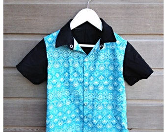 Boys retro bowling shirt / hipster shirt / funky party shirt / rockabilly shirt / Made to order