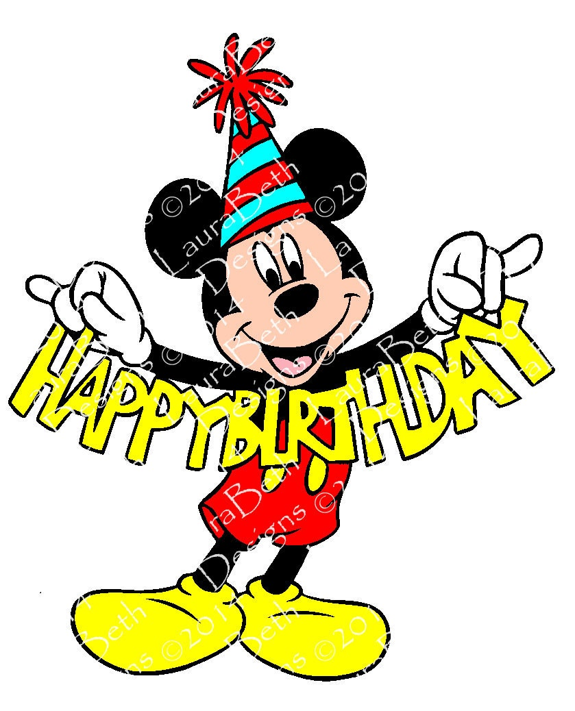 mickey mouse happy birthday digital design embroidery. Black Bedroom Furniture Sets. Home Design Ideas