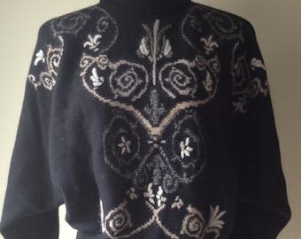 SALE Vintage 1990's Black Angora Printed Dolman Batwing Sleeve High Neck Sweater / Size Large L