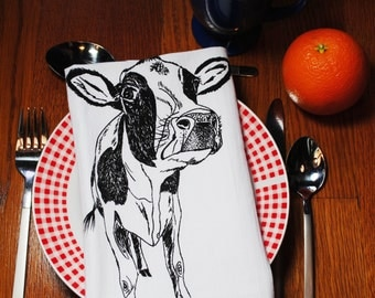 Black Cow Cloth Napkin Set - Screen Printed Cotton - Cloth Table Napkins - Washable and Reusable - Wedding Gift