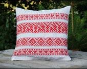 "Handwoven Pillow Cover 16"" x 16"" - Slavic Pattern"