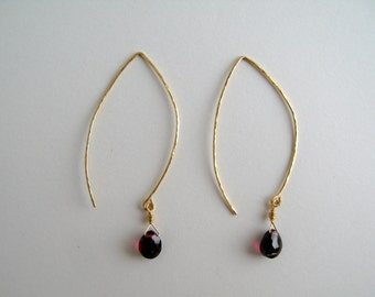 Garnet and Hammed Gold Wire Earrings