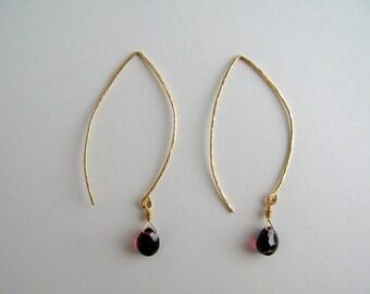 Garnet and Hammed Gold Wire Earrings