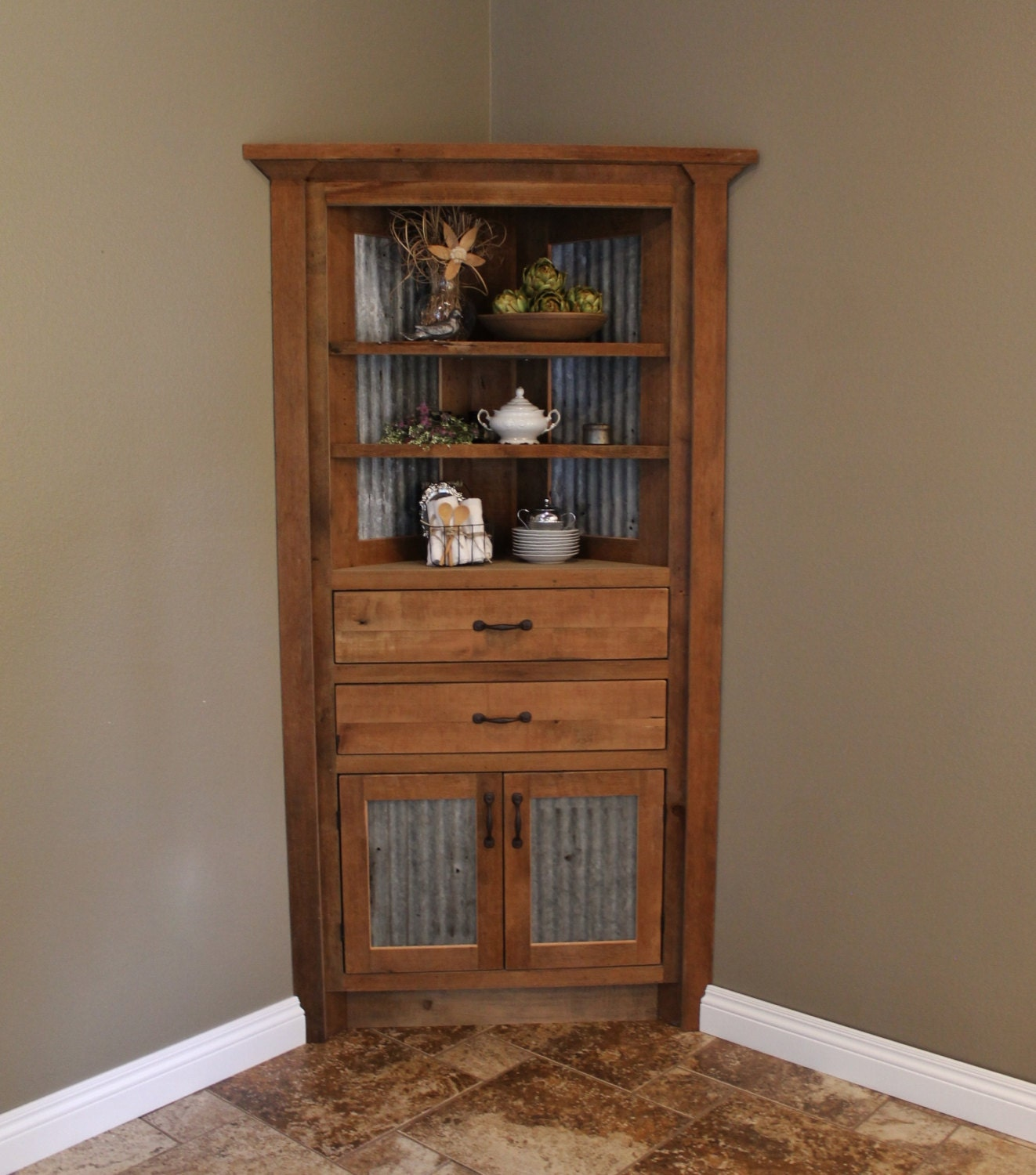 Rustic corner cabinet reclaimed barn wood w barn tin 6202 for Corner cabinet