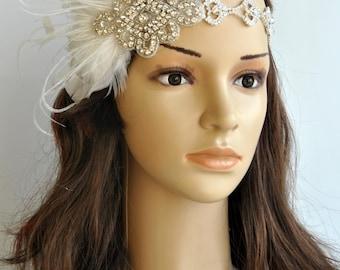Rhinestone 1920s Headpiece, Flapper headband, Flapper headpiece, 1930's, The Great Gatsby, Rhinestone crystal flapper headpiece headband