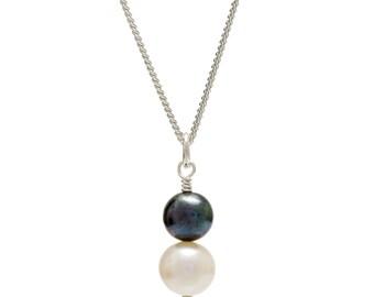 Freshwater Pearl Pendant | Double Pearl Pendant | Black Pearl Pendant | White Pearl Pendant | Pearl Drop Pendant